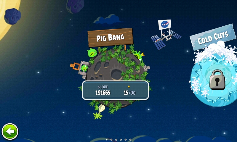 Angry Birds Space меню